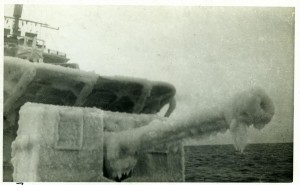 An ice-covered forecastle on Russian Convoy March 1943 on HMS Eclipse.