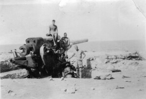 Captured Italian naval gun Tobruk beach