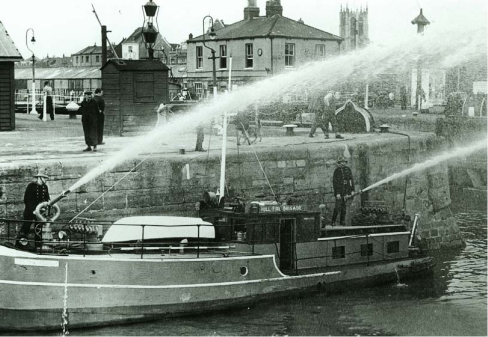 A Practice for Hull City Fireboat at the docks in Hull - Bombs over Bristich Towns and Cities