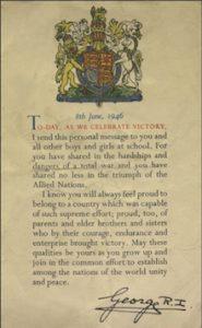 King George VI Letter to schoolchildren