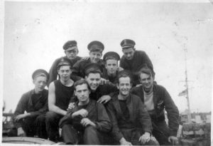 Frank Owston (far left ) and shipmates