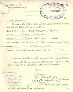 KIA Letter Harold Woodock