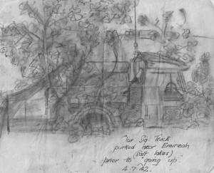 Sketch signal truck 4 July 1942 -Leslie Alexander Barrett