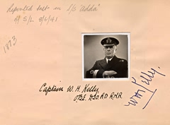 Page from autograph book belonging to Paymaster Commander Richard Rankin RNR, in which he recorded the careers, and passing, of many of the Convoy Commodores. Captain Kelly OBE DSO RD RNR was lost with the MV Adda in June 1941. Naval Historical Branch Rankin collection T5513