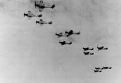 A Hurricane Squadron (No 87) battle climbs in 1940. [R P Beamont]