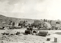 Advance from Alamein - Armoured cars waiting to go up Sollum Pass