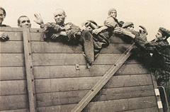 Prisoners in open wagons, 1945.
