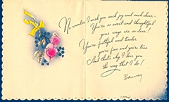 A card from Barney to his mother