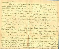 A letter from Barney to his mother January 9, 1944 written while on board USS Croatan.