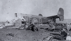 The Halifax aircraft shot down in Denmark December 11th 1943. All the crew and the agent got out of the aircraft without injury!  [B H Atkins]
