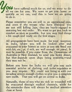 Leaflet from HQ Allied Land Forces S E Asia to FEPOWs P2 (S Burrow)