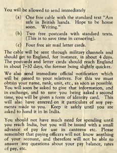 Leaflet from HQ Allied Land Forces S E Asia to FEPOWs P3 (S Burrow)