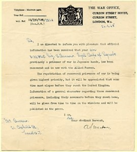 Letter from War Office to the family of Sydney Burrow advising them of his safety