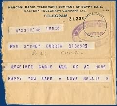 Telegram to S Burrow from his sister Nellie