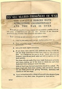 Leaflet to all POWs giving advice on behaviour following Japan's capitulation (S Burrow)