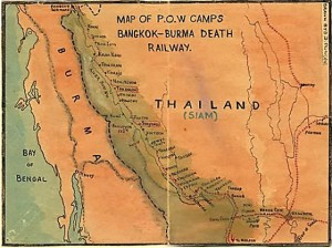 Map of the Thai-Burma Railroad from the papers of W Duncan