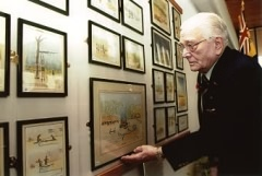 Fred Seiker at the National Memorial Arboretum, Staffs, with his water colour collection 'Lest We Forget' which is on permanent display (November 2001)