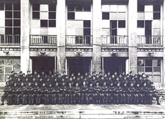 'A' Squadron outside 'Haus des Deutschen Sports' on the Olympic Games Complex where we were billeted in Spring 1945.