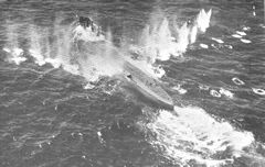 Photograph taken during the attack on a U-boat in the Bay of Biscay by Sunderland U/10 Squadron RAAF, June 1942. Taken from CB 04050/42(6) Monthly Anti-Submarine Report June 1942