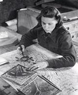 Jeanne Sowry interpreting reconnaissance photographs at RAF Benson.