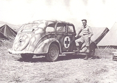 MacKay with the Peugeot I was given by a German Doctor in Tunis